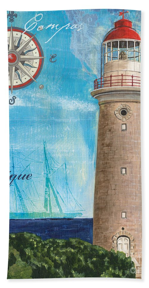 Coastal Beach Towel featuring the painting La Mer by Debbie DeWitt