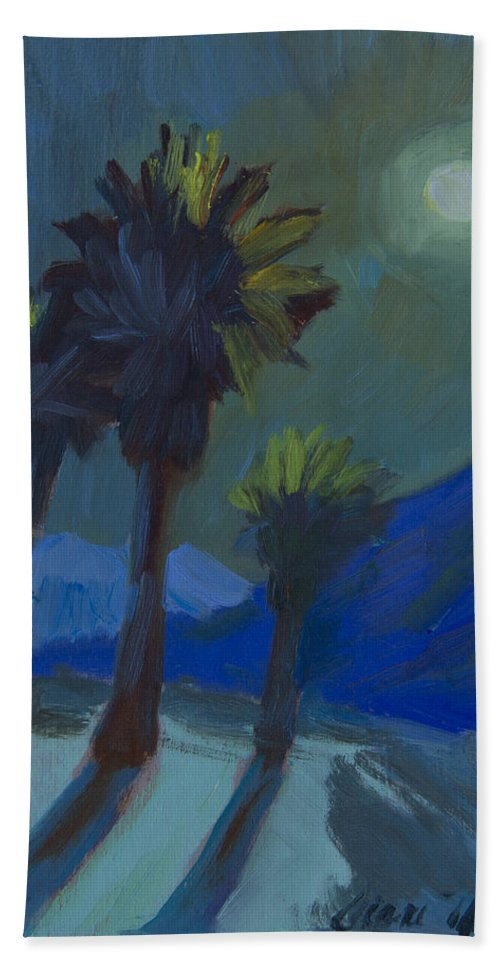 Palm Springs Beach Towel featuring the painting La Quinta Cove And Moonlight by Diane McClary