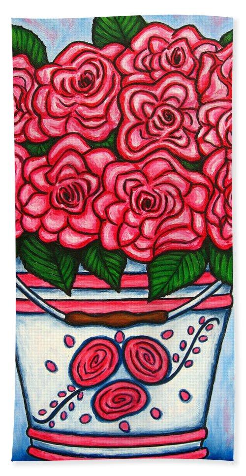Rose Beach Sheet featuring the painting La Vie En Rose by Lisa Lorenz