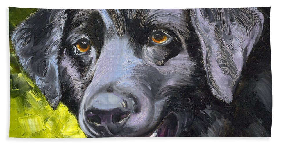 Labrador Retriever Beach Towel featuring the painting Lab Out Of The Pond by Susan A Becker