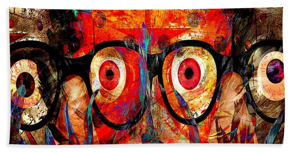 Fania Simon Beach Towel featuring the mixed media Label The Brain Through The Eyes - Lords Of Madness by Fania Simon