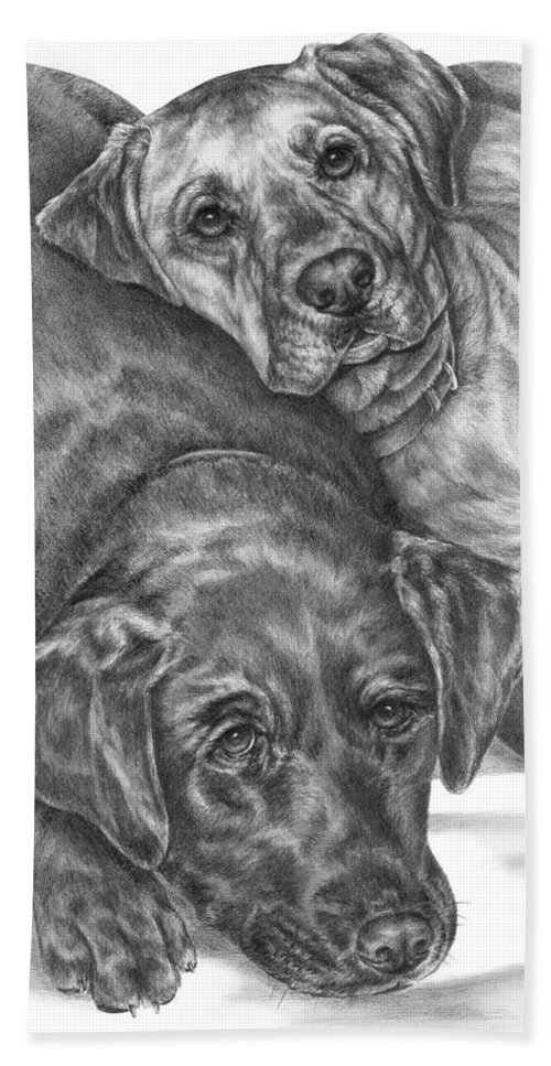 Two Beach Towel featuring the drawing Labrador Dogs Nap Time by Kelli Swan