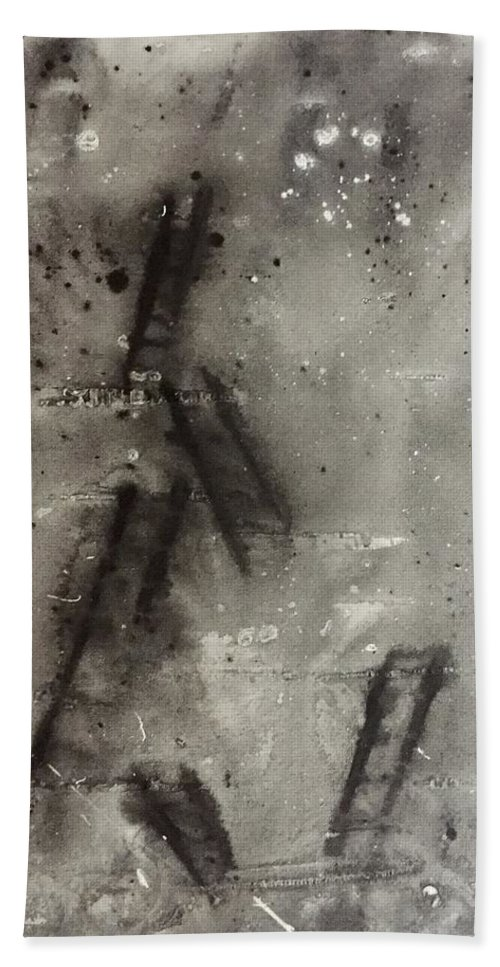 Abstract Beach Towel featuring the painting Ladders by Evan DeHoff