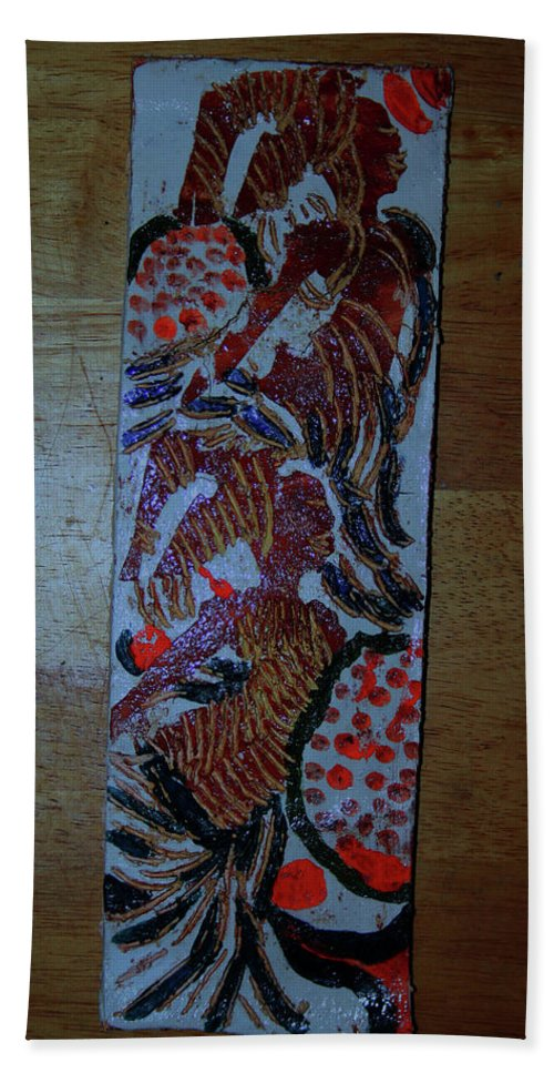 Jesus Elohimplaquesmamamama Africa Twojesus Beach Towel featuring the ceramic art Ladies Await 1 by Gloria Ssali