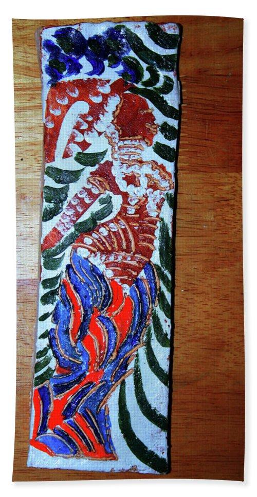 Jesus Elohimplaquesmamamama Africa Twojesus Beach Towel featuring the ceramic art Ladies Await 6 by Gloria Ssali