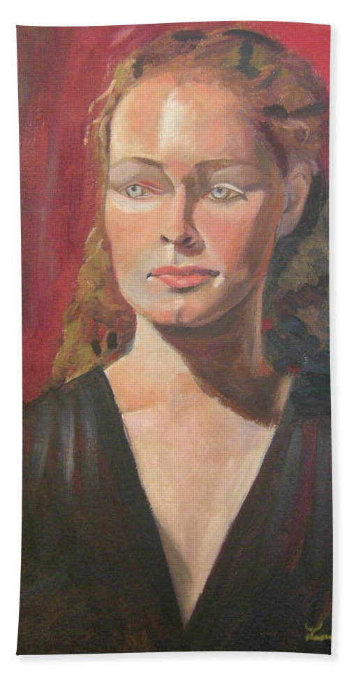 Portrait Beach Towel featuring the painting Lady Ann by Lilibeth Andre