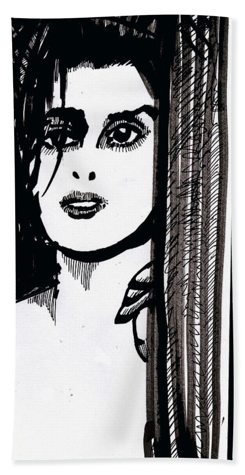 Sad Lady Beach Towel featuring the drawing Lady At The Door by Seth Weaver
