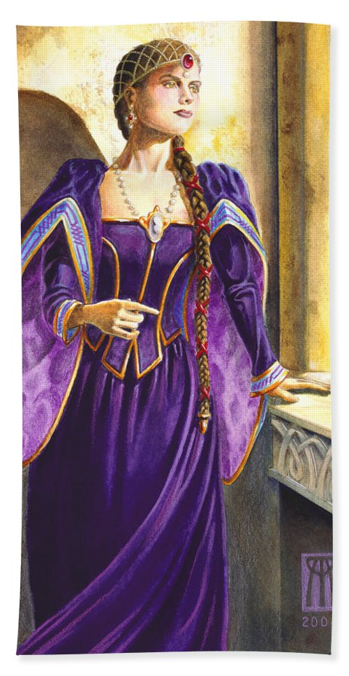Camelot Beach Towel featuring the painting Lady Ettard by Melissa A Benson