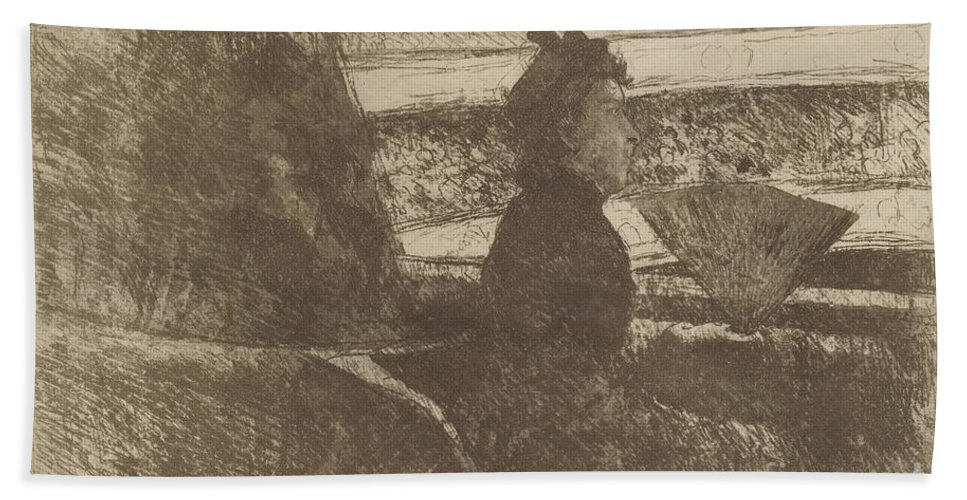 Beach Towel featuring the drawing Lady In Black, In A Loge, Facing Right by Mary Cassatt