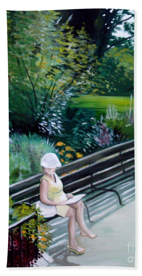 Landscape Beach Towel featuring the painting Lady In Central Park by Elizabeth Robinette Tyndall