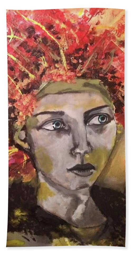 Portrait Beach Towel featuring the mixed media Lady in Red Headdress by Milagros Suriano-Rivera