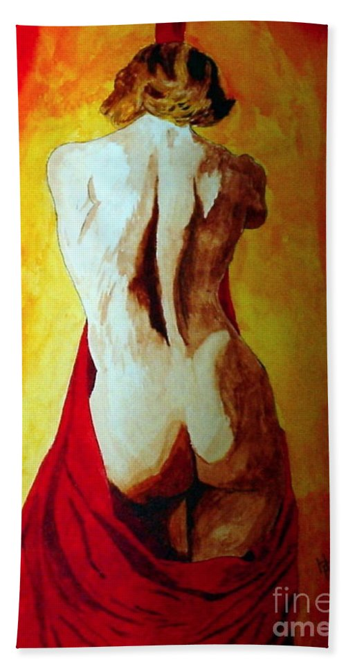 Nude Red Lady In Red Beach Towel featuring the painting Lady In Red by Herschel Fall