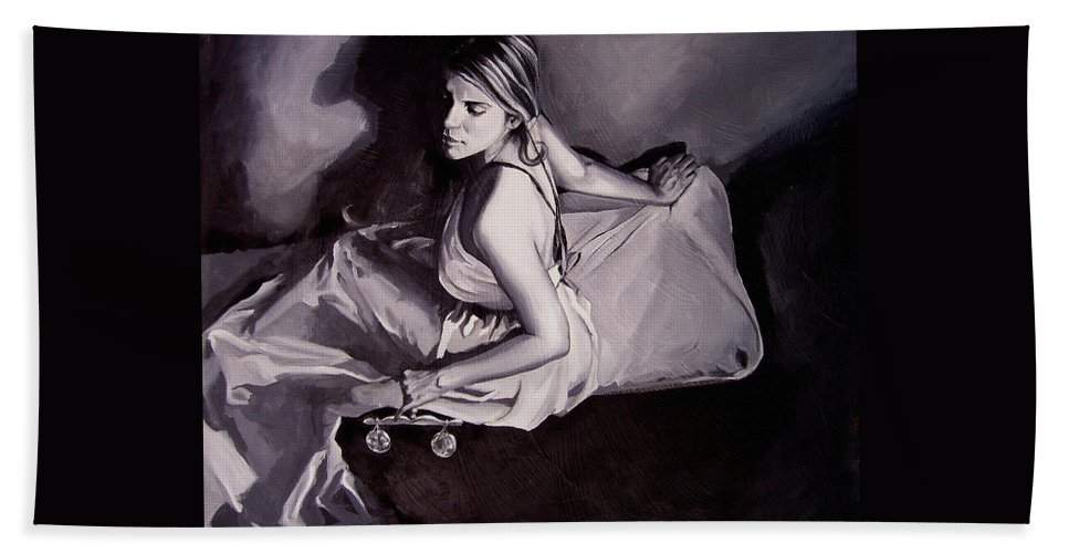 Law Art Beach Towel featuring the painting Lady Justice Black And White by Laura Pierre-Louis