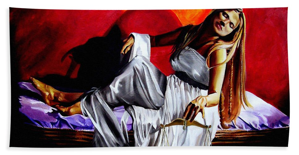 Law Art Beach Towel featuring the painting Lady Justice by Laura Pierre-Louis