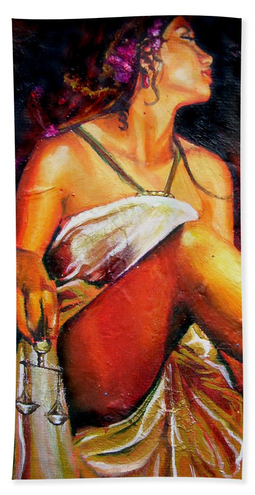 Law Art Beach Towel featuring the painting Lady Justice Mini by Laura Pierre-Louis