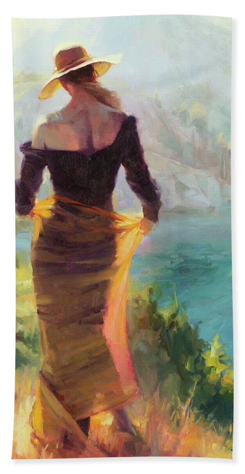 Woman Beach Towel featuring the painting Lady of the Lake by Steve Henderson