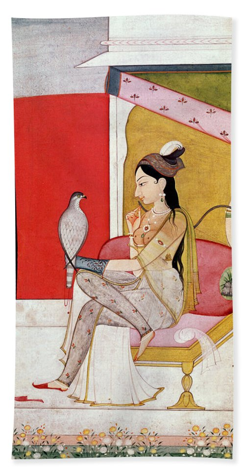 Lady Beach Towel featuring the painting Lady With A Hawk by Guler School