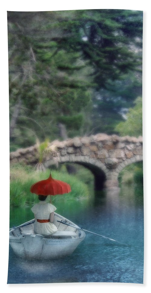 Beautiful Beach Towel featuring the photograph Lady With Parasol In Boat by Jill Battaglia
