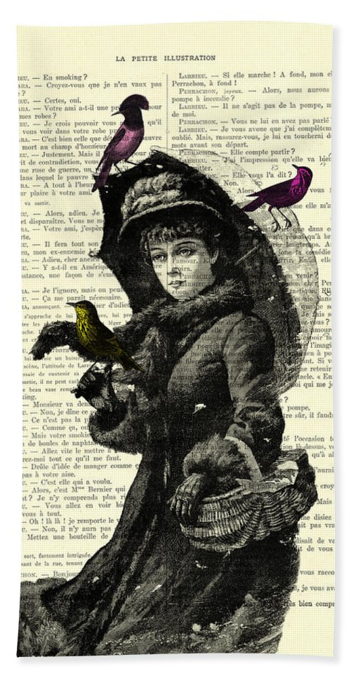 Woman Beach Towel featuring the digital art Lady With Umbrella In Winter Landscape Print On Old Book Page by Madame Memento