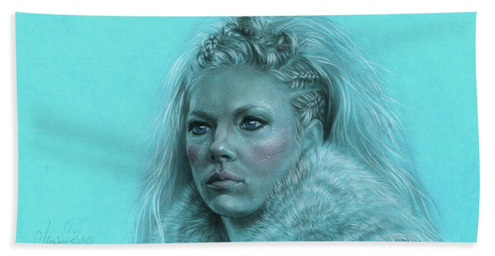 Lagertha Beach Towel featuring the drawing Lagertha Shieldmaiden by Marina Pacurar