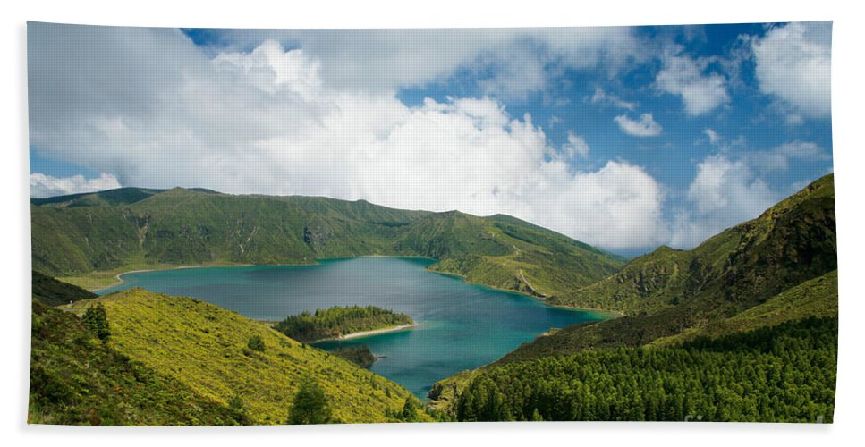 Lagoa Do Fogo Beach Towel featuring the photograph Lagoa Do Fogo by Gaspar Avila
