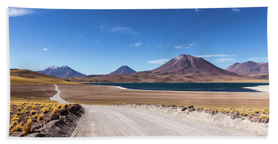 Landscape Beach Towel featuring the photograph Laguna Miscanti by Victor Lima