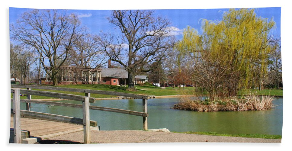 Lake Beach Towel featuring the photograph Lake At Schiller Park by Laurel Talabere