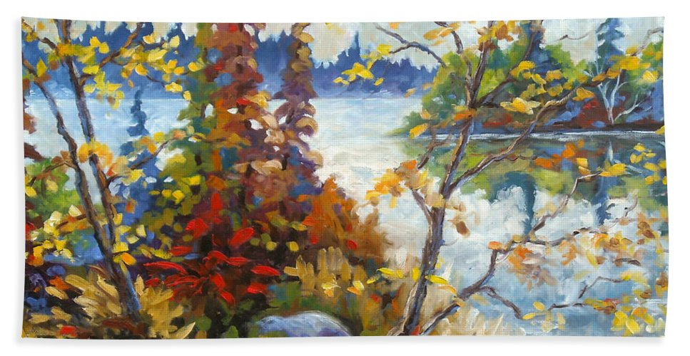 Trees Beach Towel featuring the painting Lake Cartier by Richard T Pranke