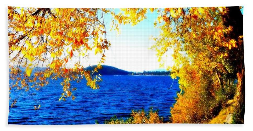 Lake Coeur D' Alene Beach Towel featuring the photograph Lake Coeur D'alene Through Golden Leaves by Carol Groenen