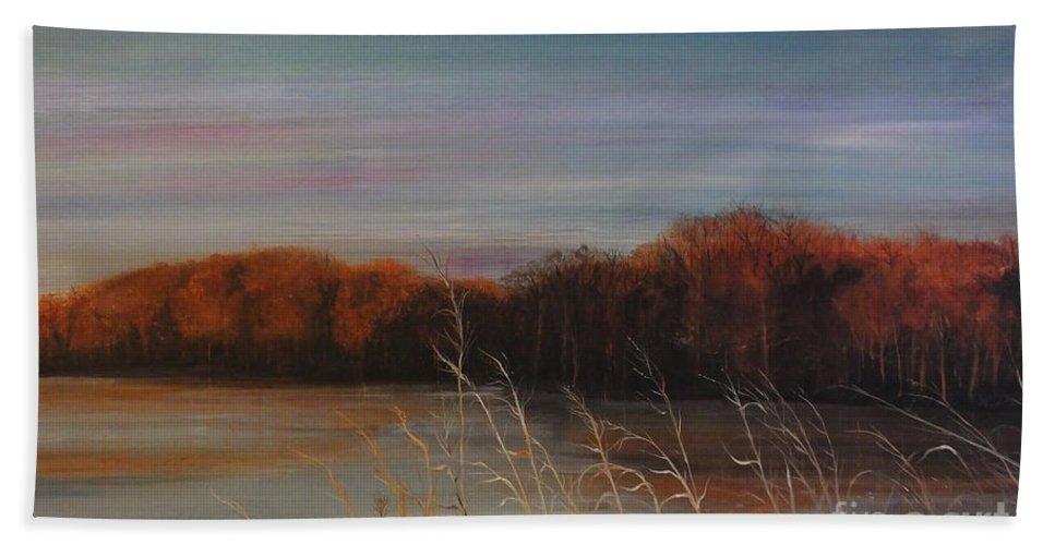 Lake Beach Towel featuring the painting Quiet Lake Morning At Lake Dunn Village Creek State Park Ar by Lizi Beard-Ward
