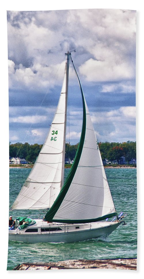 Boat Beach Towel featuring the photograph Lake Erie Sailing 8092h by Guy Whiteley