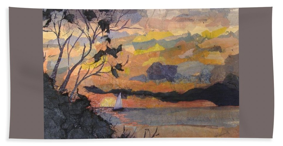 Seascape Beach Towel featuring the mixed media Lake Erie Sunset by Pat Snook