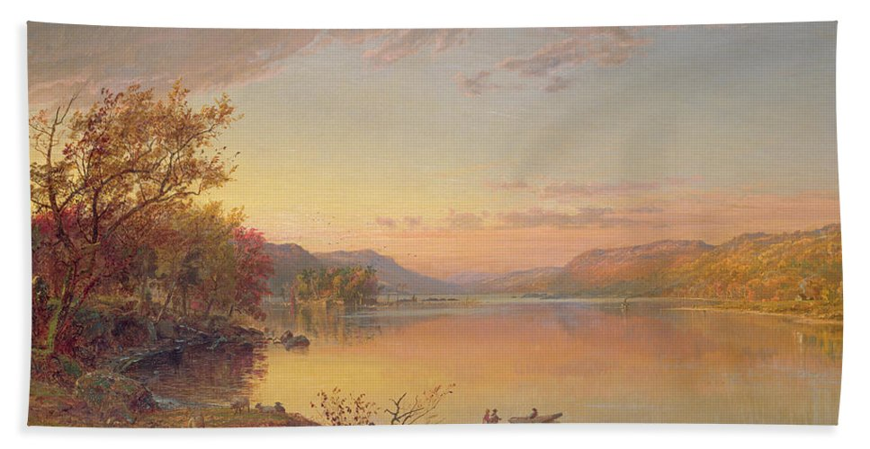 American Landscape Beach Towel featuring the painting Lake George Ny by Jasper Francis Cropsey