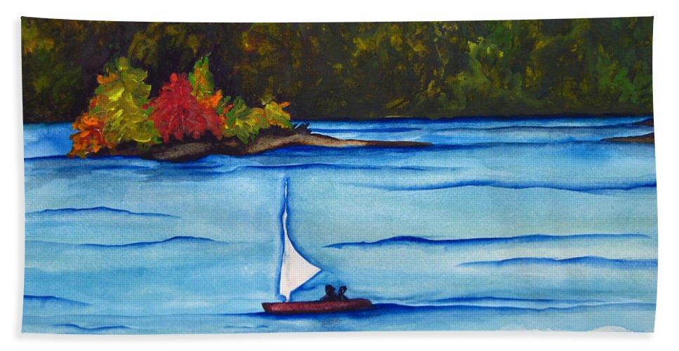 Water Beach Towel featuring the painting Lake Glenville Sold by Lil Taylor