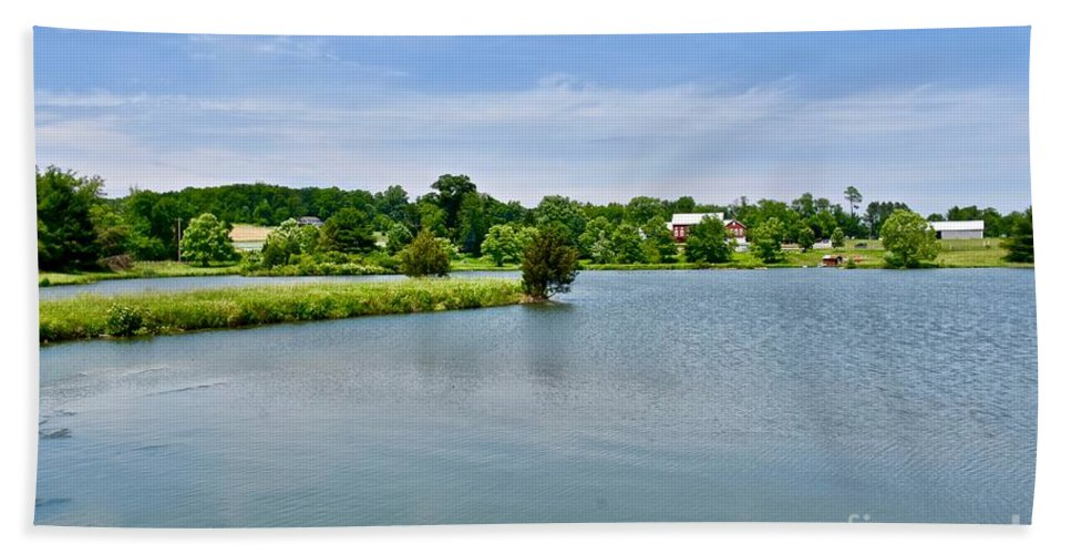 Farmhouse Beach Towel featuring the photograph Lake House Property by Jeramey Lende