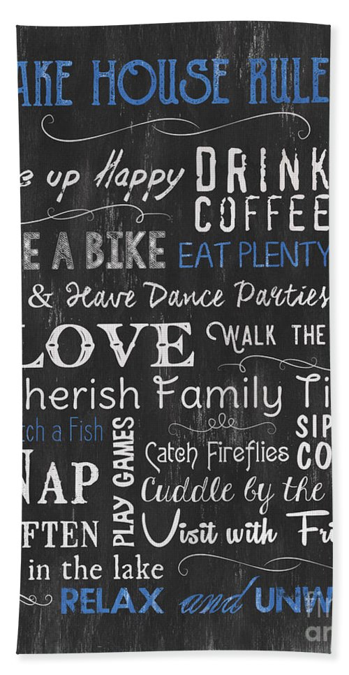 Lake Beach Towel featuring the painting Lake House Rules by Debbie DeWitt