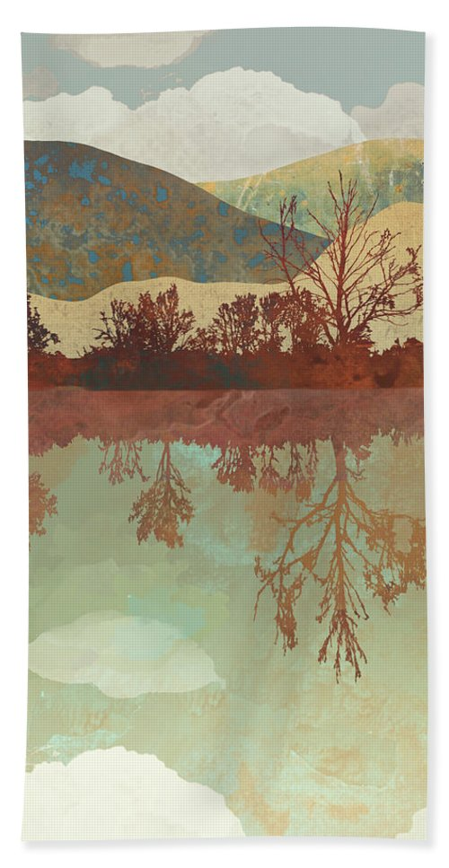 Lake Beach Towel featuring the digital art Lake Side by Spacefrog Designs
