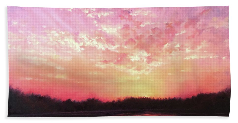 Landscape Beach Towel featuring the painting Lake Sunset by Teri Rosario