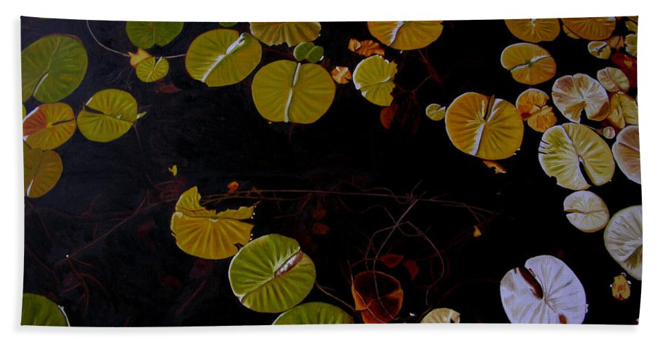 Water Beach Towel featuring the painting Lake Washington Lilypad 8 by Thu Nguyen