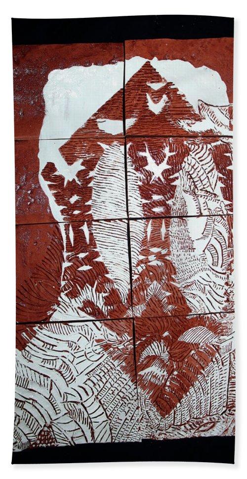 Mama Africa Twojesus Beach Towel featuring the ceramic art Lamb Of God by Gloria Ssali