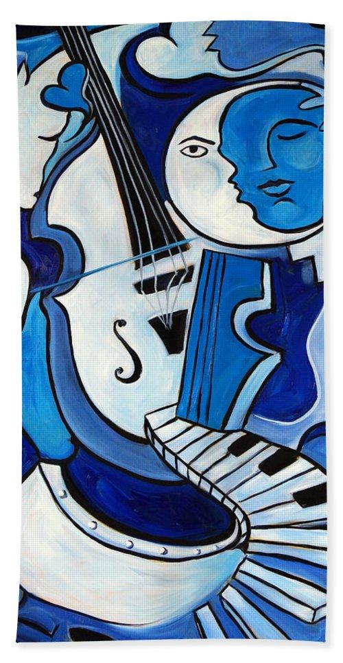 Blue Beach Towel featuring the painting L'amour Deux by Valerie Vescovi