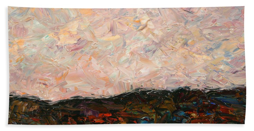 Land Beach Towel featuring the painting Land And Sky by James W Johnson