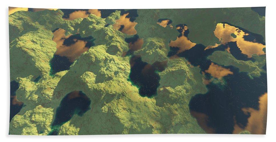 Digital Art Beach Sheet featuring the digital art Land Of A Thousand Lakes II by Gaspar Avila