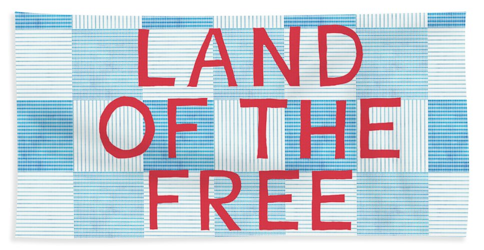 Land Of The Free Beach Towel featuring the painting Land Of The Free by Linda Woods