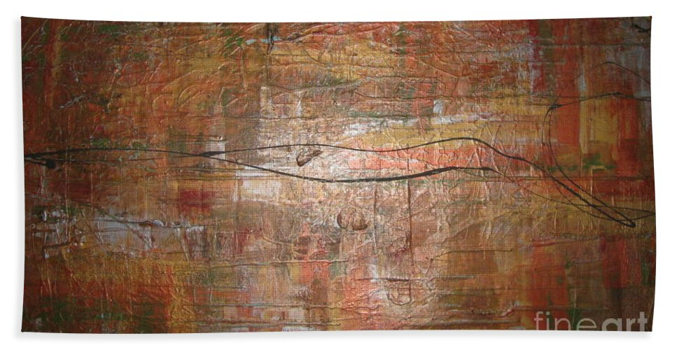 Abstract Beach Towel featuring the painting Landscape - Gold by Jacqueline Athmann