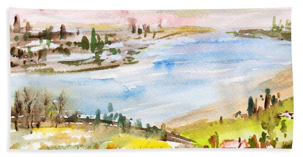 Mountains And Winding Hills Beach Towel featuring the painting Landscape 3 by Xueling Zou