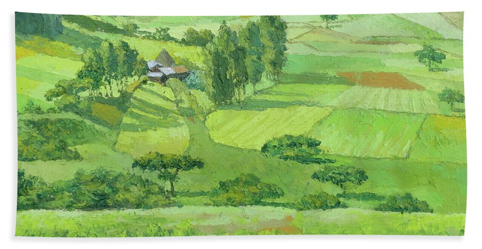 Landscape Beach Towel featuring the painting Landscape 3 by Yoseph Abate