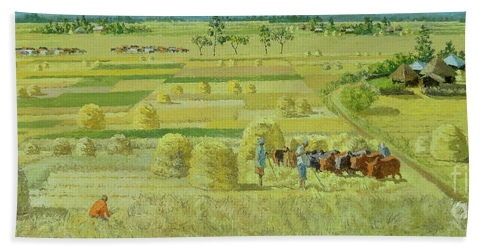 Farmer Beach Towel featuring the painting Landscape 5 by Yoseph Abate