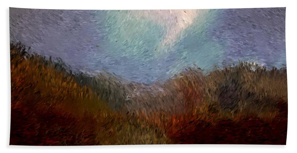 Abstract Digital Painting Beach Towel featuring the digital art Landscape 8-27-09 by David Lane