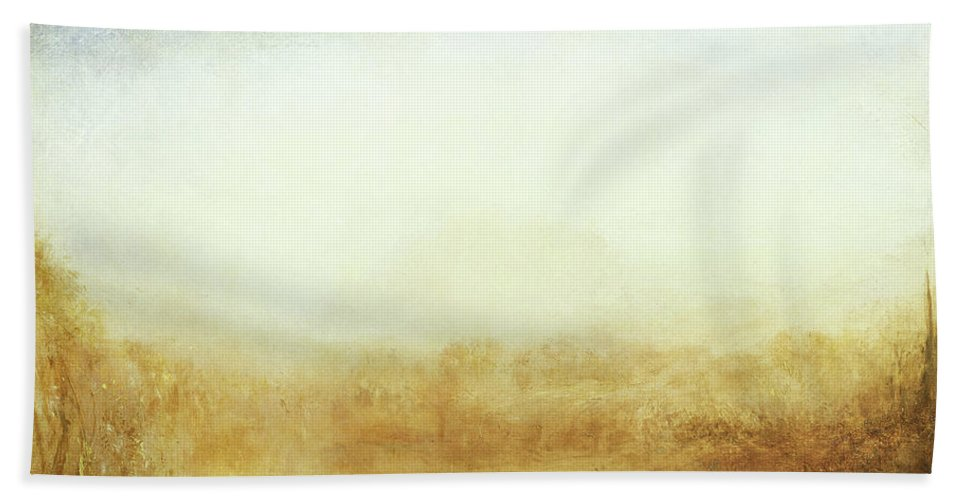 Turner Beach Towel featuring the painting Landscape Castle From The Meadows by Joseph Mallord William Turner